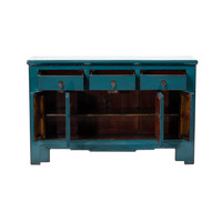 PREORDER 28/12/2020 Antique Chinese Sideboard Glossy Teal W132xD41xH91cm