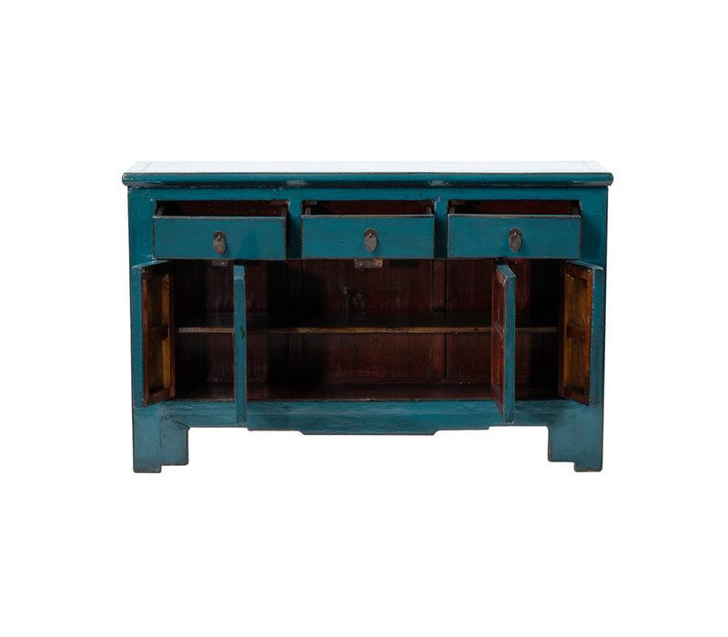 Antikes Chinesisches Sideboard Kommode Glänzend Aquamarin B132xT41xH91cm