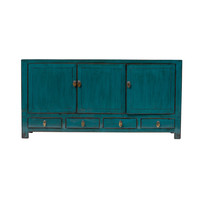 Antique Chinese TV Cabinet Glossy Teal W141xD40xH70cm