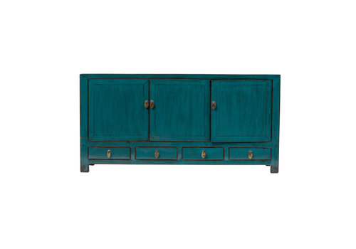 Fine Asianliving Antique Chinese TV Cabinet Glossy Teal W141xD40xH70cm