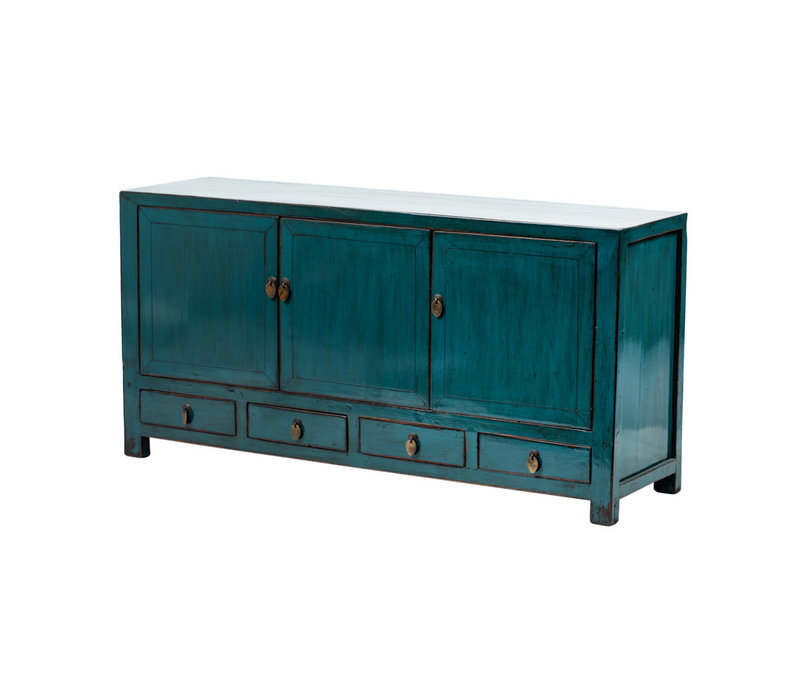 PREORDER 28/12/2020 Antique Chinese TV Cabinet Glossy Teal W141xD40xH70cm