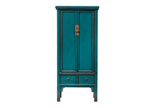 Fine Asianliving PREORDER 28/12/2020 Antique Chinese Cabinet Glossy Teal W78xD47xH171cm