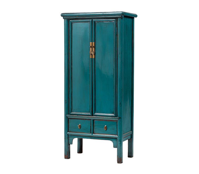 PREORDER 28/12/2020 Antique Chinese Cabinet Glossy Teal W78xD47xH171cm