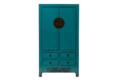 Fine Asianliving Antique Chinese Wedding Cabinet Glossy Teal W103xD48xH188cm