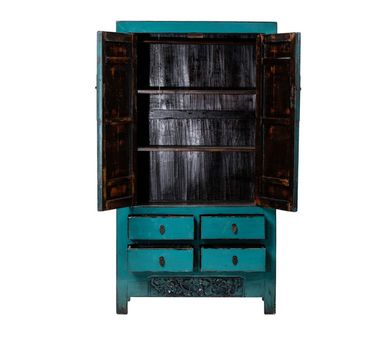Antique Chinese Wedding Cabinet Glossy Teal W103xD48xH188cm