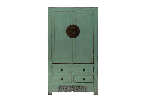 Fine Asianliving Antique Chinese Wedding Cabinet Glossy Mint W105xD50xH184cm