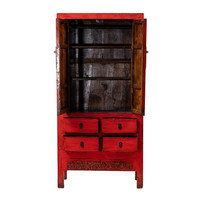 PREORDER 28/12/2020 Antique Chinese Wedding Cabinet Glossy Red W92xD50xH185cm