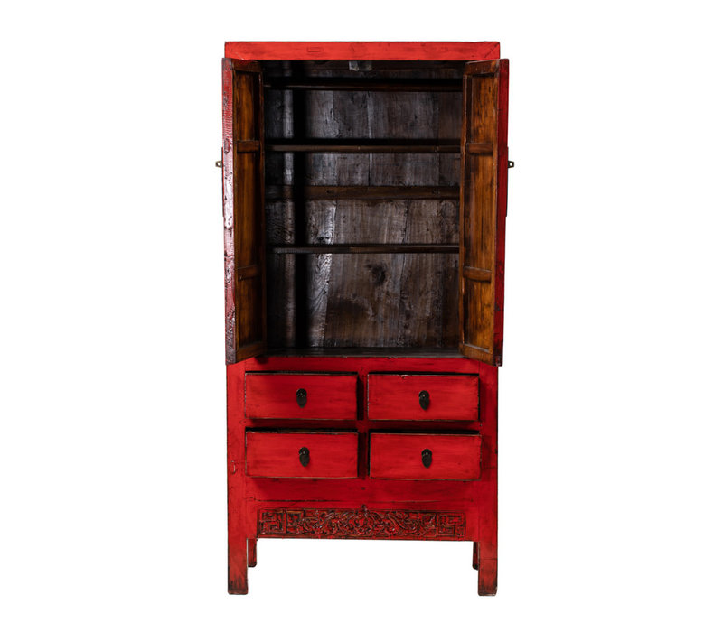 Antique Chinese Wedding Cabinet Glossy Red W92xD50xH185cm