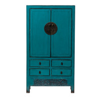 Antique Chinese Wedding Cabinet Glossy Turquoise W104xD50xH190cm