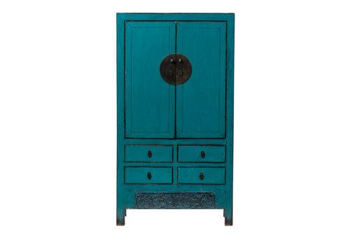 Fine Asianliving Antieke Chinese Bruidskast Glanzend Turquoise B104xD50xH190cm