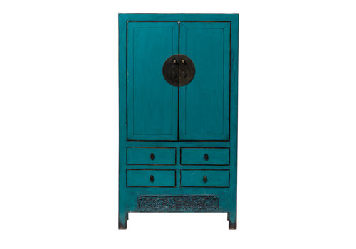 Fine Asianliving Antique Chinese Wedding Cabinet Glossy Turquoise W104xD50xH190cm
