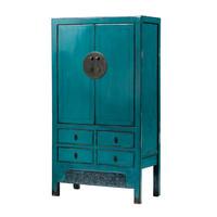 Antieke Chinese Bruidskast Glanzend Turquoise B104xD50xH190cm