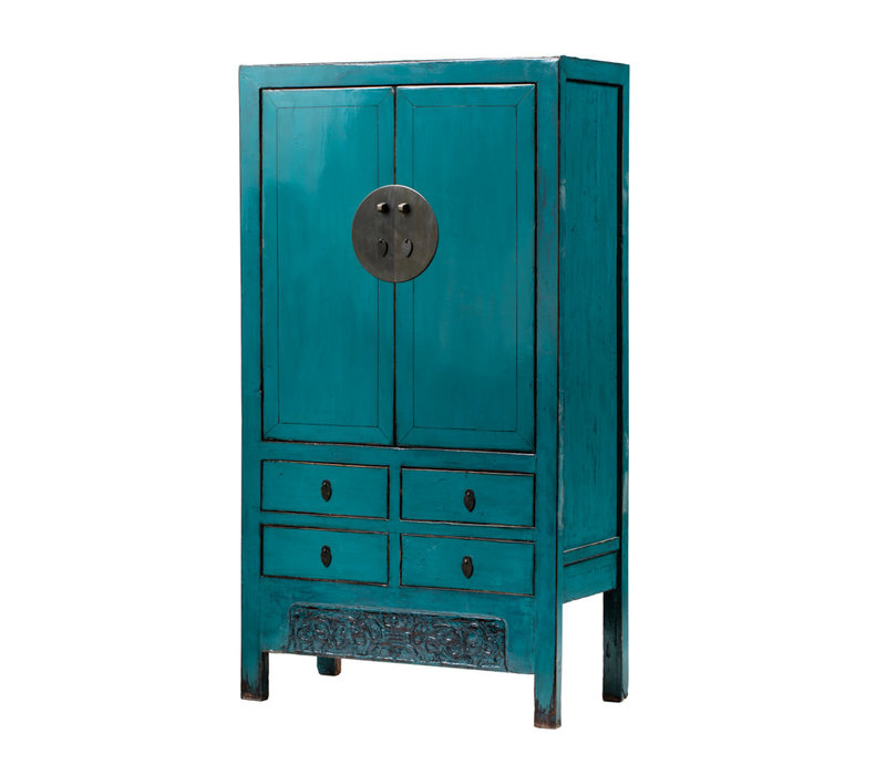 PREORDER 28/12/2020 Antique Chinese Wedding Cabinet Glossy Turquoise W104xD50xH190cm