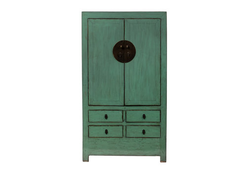 Fine Asianliving Antique Chinese Wedding Cabinet Glossy Mint W106xD50xH189cm
