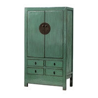 PREORDER 28/12/2020 Antique Chinese Wedding Cabinet Glossy Mint W106xD50xH189cm