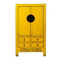 Antiker Chinesischer Hochzeitsschrank Glänzend Gelb B107xT50xH188cm