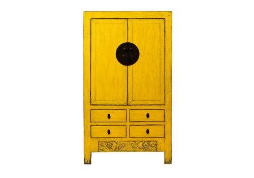 Fine Asianliving Antiker Chinesischer Hochzeitsschrank Glänzend Gelb B107xT50xH188cm