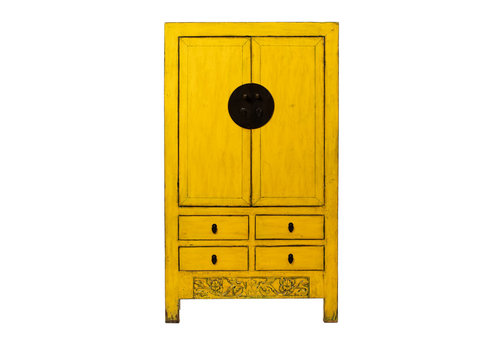 Fine Asianliving Antique Chinese Wedding Cabinet Glossy Yellow W107xD50xH188cm