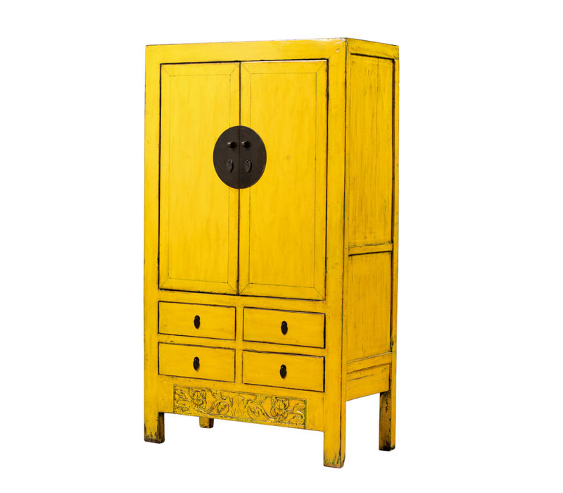 Armoire de Mariage Chinoise Antique Jaune L107xP50xH188cm