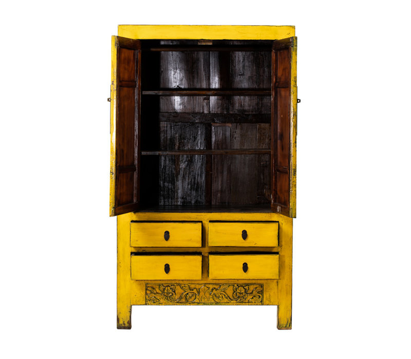 Antique Chinese Wedding Cabinet Glossy Yellow W107xD50xH188cm