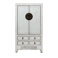 PREORDER 28/12/2020 Antique Chinese Wedding Cabinet Glossy White W103xD53xH190cm