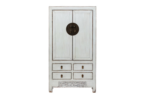 Fine Asianliving Antique Chinese Wedding Cabinet Glossy White W103xD53xH190cm