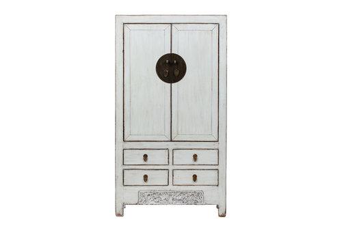 Fine Asianliving Armoire de Mariage Chinoise Antique Blanc L103xP53xH190cm