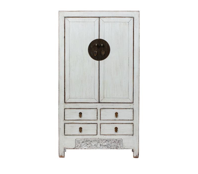 Antiker Chinesischer Hochzeitsschrank Glänzend Weiß B103xT53xH190cm