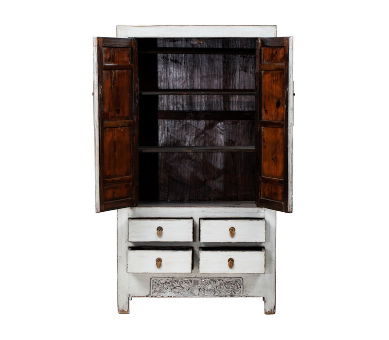 Antique Chinese Wedding Cabinet Glossy White W103xD53xH190cm