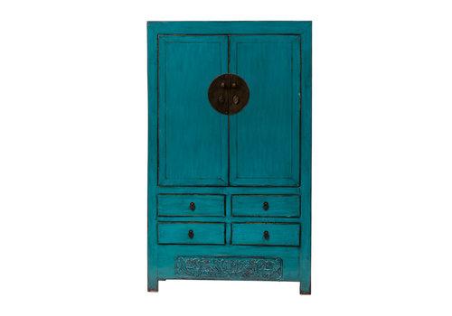 Fine Asianliving Armoire de Mariage Chinoise Antique Bleu Canard L113xP48xH188cm