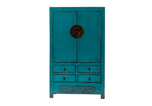 Fine Asianliving PREORDER 28/12/2020 Antique Chinese Wedding Cabinet Glossy Teal W113xD48xH188cm