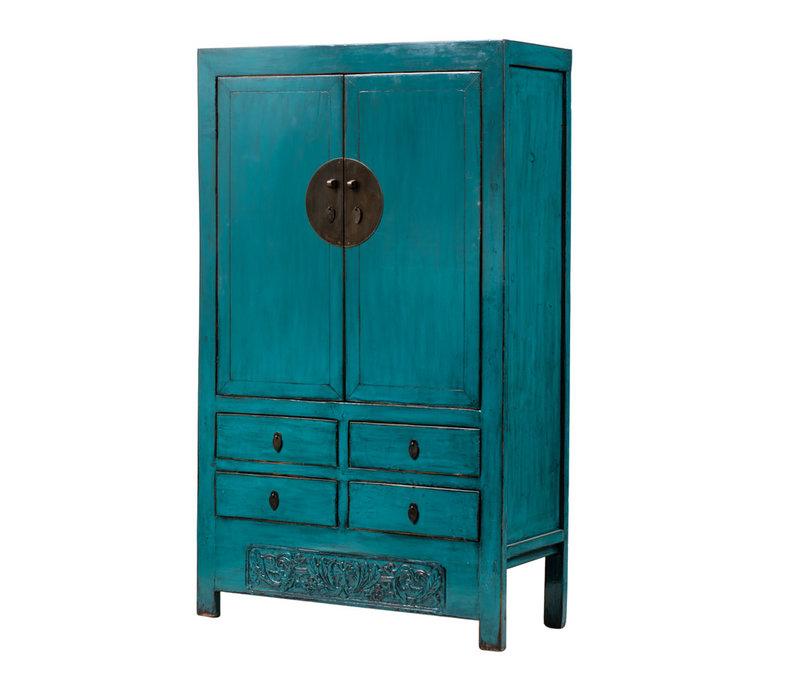 Armoire de Mariage Chinoise Antique Bleu Canard L113xP48xH188cm