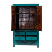 Antique Chinese Wedding Cabinet Glossy Teal W113xD48xH188cm