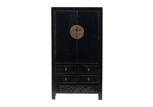 Fine Asianliving PREORDER 28/12/2020 Antique Chinese Wedding Cabinet Glossy Black W104xD50xH189cm