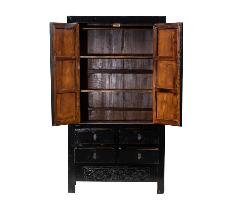 PREORDER 28/12/2020 Antique Chinese Wedding Cabinet Glossy Black W104xD50xH189cm