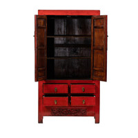 PREORDER 28/12/2020 Antique Chinese Wedding Cabinet Glossy Red W102xD50xH187cm