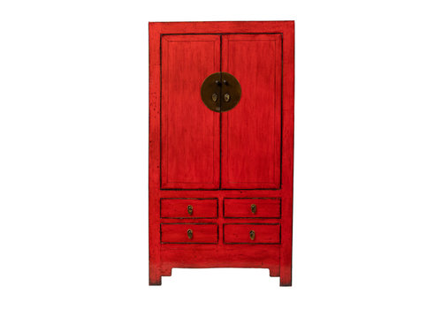 Fine Asianliving Antique Chinese Wedding Cabinet Glossy Red W109xD51xH198cm