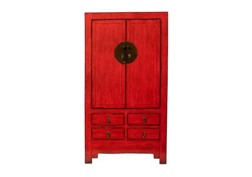 Fine Asianliving Armario de Boda Chino Antiguo Rojo Brillante Anch.109 x Prof.51 x Alt.198 cm