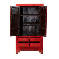 Armadio Nuziale Cinese Antico Rosso L109xP51xA198cm