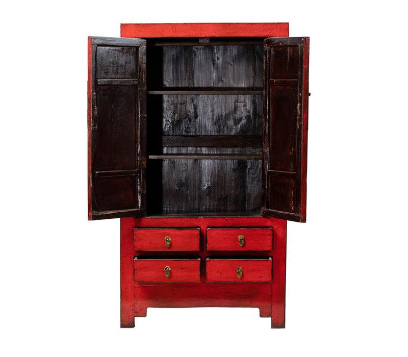 Antieke Chinese Bruidskast Glanzend Rood B109xD51xH198cm