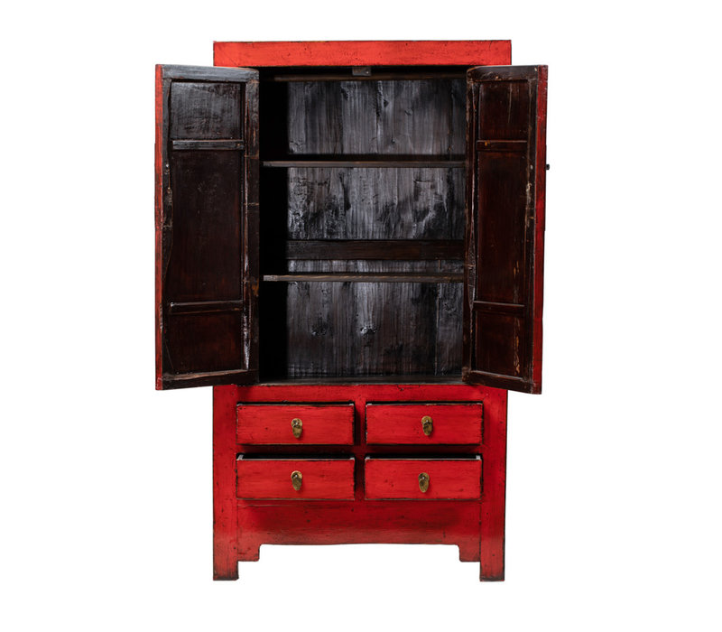 PREORDER 28/12/2020 Antique Chinese Wedding Cabinet Glossy Red W109xD51xH198cm