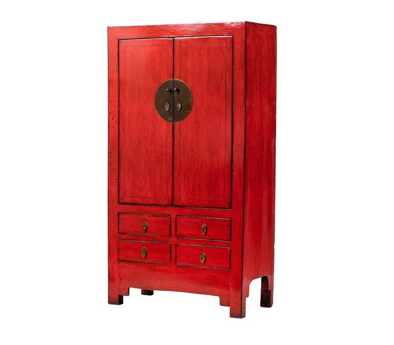 Armoire de Mariage Chinoise Antique Rouge L109xP51xH198cm