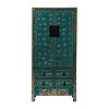Fine Asianliving Antieke Chinese Bruidskast Vlinders Handgeschilderd Glanzend Teal B88xD50xH184cm