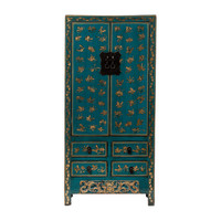Antique Chinese Wedding Cabinet Handpainted Butterflies Glossy Teal W88xD50xH184cm