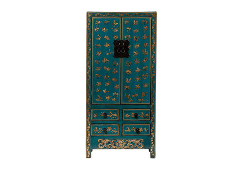 Fine Asianliving Antique Chinese Wedding Cabinet Handpainted Butterflies Glossy Teal W88xD50xH184cm
