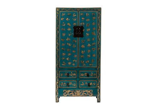 Fine Asianliving Armoire de Mariage Chinoise Antique Papillons peints à la Main Bleu Canard L88xP50xH184cm