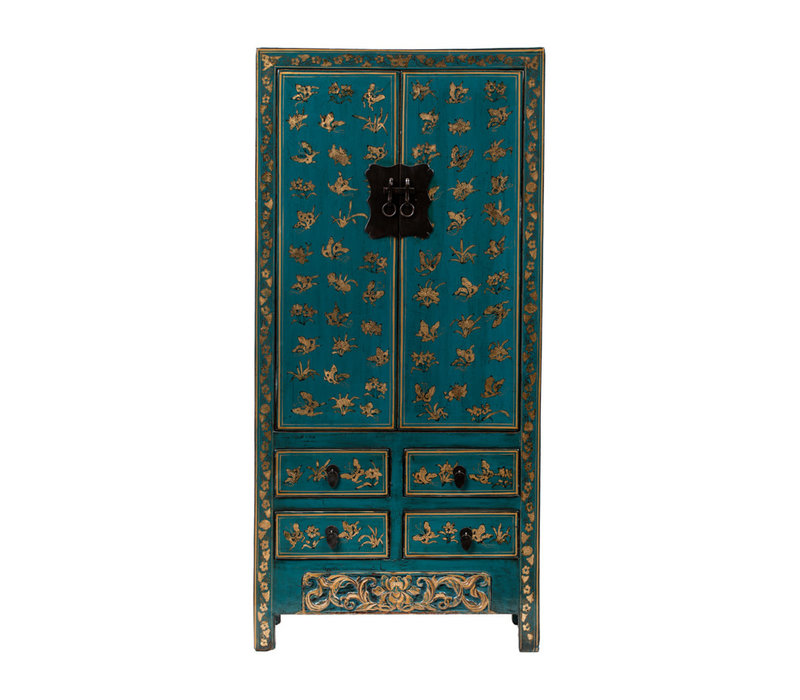 PREORDER 28/12/2020 Antique Chinese Wedding Cabinet Handpainted Butterflies Glossy Teal W88xD50xH184cm