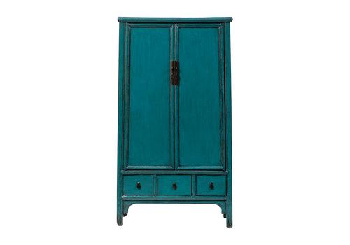 Fine Asianliving Antiker Chinesischer Schrank Glänzend Blau B105xT47xH189cm