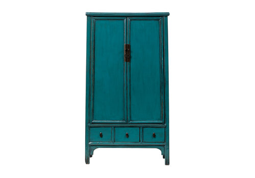 Fine Asianliving Antique Chinese Cabinet Glossy Teal W105xD47xH189cm