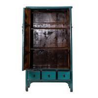 Antieke Chinese Kast Glanzend Blauw B105xD47xH189cm